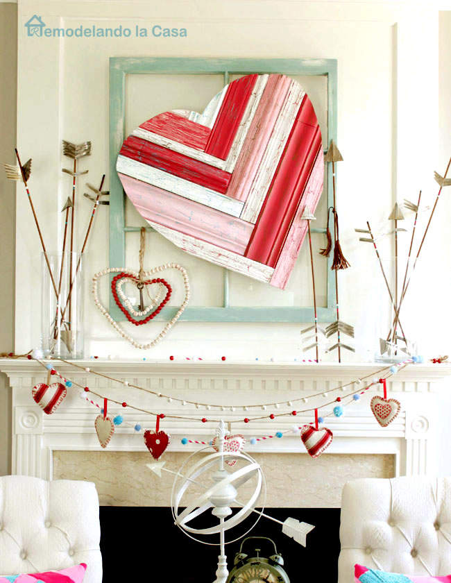 Valentine Mantel with heart art and arrows2sm